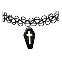 Choker Kista Tattoo Halsband Coffin Goth Kors Kross Svart