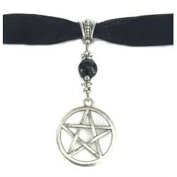 Choker Pentagram Onyx Sammet/velvet Wicca Pagan Halsband Black