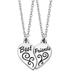 Halsband Best friends Kompis/Partner 2-delat hjärta Silver