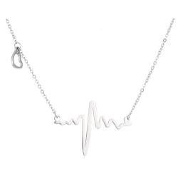 Halsband Hjärtslag Pulse EKG Heatbeat Hjärta Silver