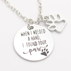 Halsband Katt Hund - When I Needed a hand.... Minnessmycke Silver