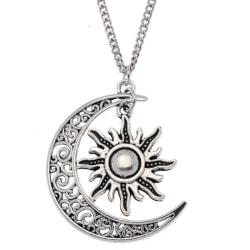 Halsband Sol Måne Boho Pagan Crescent Moon Silver