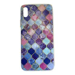 iPhone X / XS Marmor Medaljong Lila/Guld Marble Lila