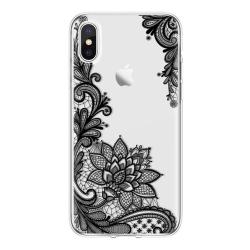 iPhone XR Spets SVART Mandala Lace Henna Blommor Svart