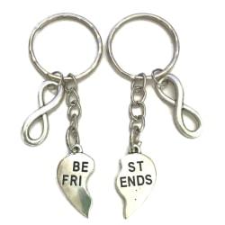 Nyckelring Best friends Infinity Kompis/Partner 2-delat hjärta Silver