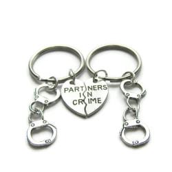 Nyckelring Partners in crime Kompis/Partner 2 stycken Handbojor Silver