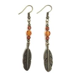 Örhängen Fjädrar Fjäder Höstfärger Feather Boho Hippie Brun