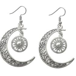 Örhängen Måne Sol Crescent Moon Sun Wicca Pagan Halvmåne Silver