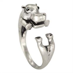 Ring - Flodhäst - Djurmönster - Justerbar Silver