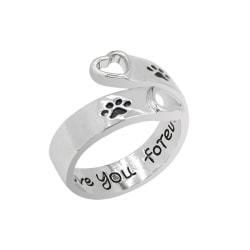 Ring Tassar Djurälskare Hund/katt - Minnesring  Silver