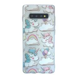 Samsung Galaxy S10 Enhörning Rosa Moln Unicorn Sagoväsen Blå