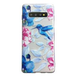 Samsung Galaxy S10 Kolibri Fågel Blommor Flower Rosa/blå multifärg