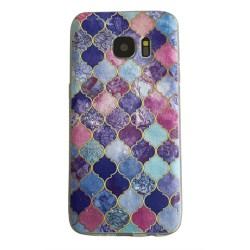 Samsung Galaxy S8 Marmor Medaljong Lila Guld Marble Lila