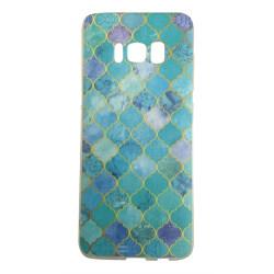 Samsung Galaxy S8 PLUS Marmor Medaljong Blå Guld Marble Blå