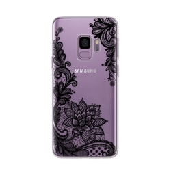 Samsung Galaxy S9 PLUS Spets Henna Lace Blomma Mandala Svart Svart