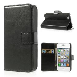 Crazy Horse Plånboksfodral till iPhone 4/4S, Svart