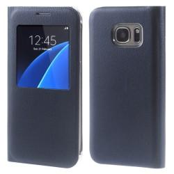Fönsterfodral till Galaxy S7, Mörkblå