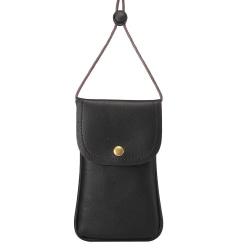 Halsbandsväska med kortplats till större telefoner, Svart
