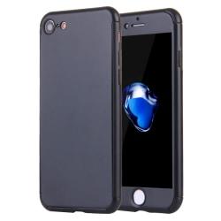 iPhone 7 skal, 360 helskydd med härdat glas - svart