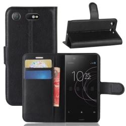 Litchi Grain Läderfodral till Sony Xperia XZ1 Compact - Svart