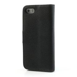 Litchi Läderfodral till iPhone 5/5S, Svart