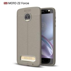 Litchi läderskal för Motorola Moto Z2 Force - Grå