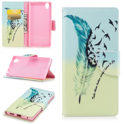 Plånboksfodral till Sony Xperia L1 - Blå fjäder