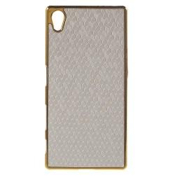 Plastskal med guldkanter till Xperia Z5, Silver