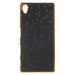 Plastskal med guldkanter till Xperia Z5, Svart