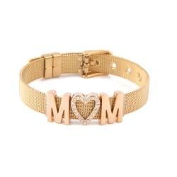 Mors dag armband, MOM, Guld