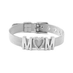 Mors dag armband, MOM, Silver