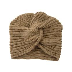 Stickad turban/mössa, brun brun