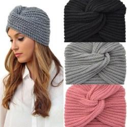 Stickad turban/mössa, grå Grå