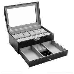 Faux Leather Watch Box for 12 Watches black