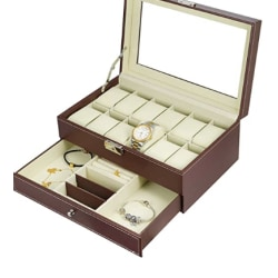Faux Leather Watch Box for 12 Watches BROWN