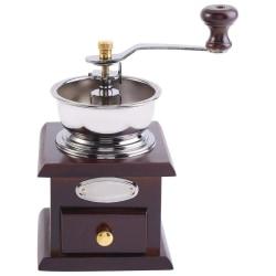 Kaffekvarn,retro manuell kaffebönor kvarn professionell mörkbrun