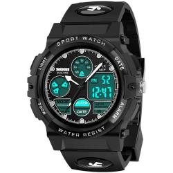 LED Waterproof Digital Watch for Kids Dark black Analog+Digital