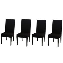 Fyra stretchbar matstolskydd Vanlig svart