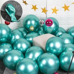 10x glansig pärla uppblåsbar krom ballonger metallgrön Grön