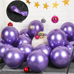 10x glansig pärla uppblåsbar krom ballonger metallil Lila