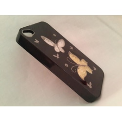 Apple Iphone 4 4S Fodral Skal Case Beads (Butterfly) Svart Svart
