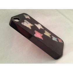 Apple Iphone 4 4S Skal Case Beads (7 Butterflys) Svart Svart