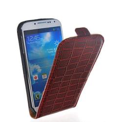 Galaxy S4 skal fodral crocodile vertical läder röd Röd