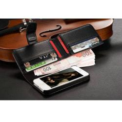 Iphone 4 4S Plånbok Fodral väska 7 Korthållare Läder Svart Svart