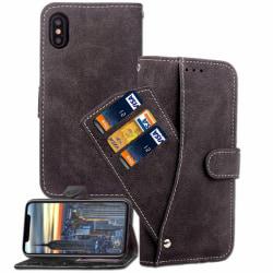 IPhone 6+/6S+ Läder Flip Plånbok Fodral Scrub Case Svart Svart