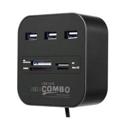 Multi allt i 1 SD-kortläsare 3 USB-portar hub MMC/M2/MS Svart one size