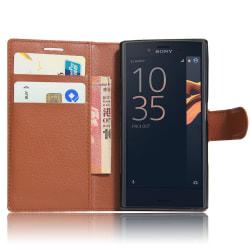 Xperia Z5 premium fodral plånbok leeche case brun Brun