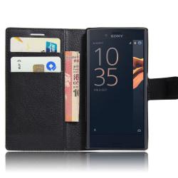 Xperia Z5 fodral plånbok leeche case svart Svart