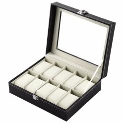 dPlaze Urbox / Klockbox för 10 klockor svart med vit söm