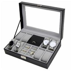 Klockbox o juvelbox 8 klockors ljusgrå insida